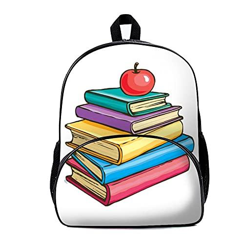 Zaino per la scuola Apple on Book pile 18 x 30 x 40 cm Zaino per computer portatile, borsa da lavoro, per viaggi, università, scuola, zainetti casual per uomo, donna