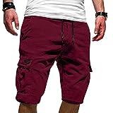 Esque Pantalones Cortos Deportivos Casuales De Verano con Herramientas Talla Grande para Hombre,Pantalones Correr Entrenamiento Gimnasio Ropa Informal,Vino,4XL