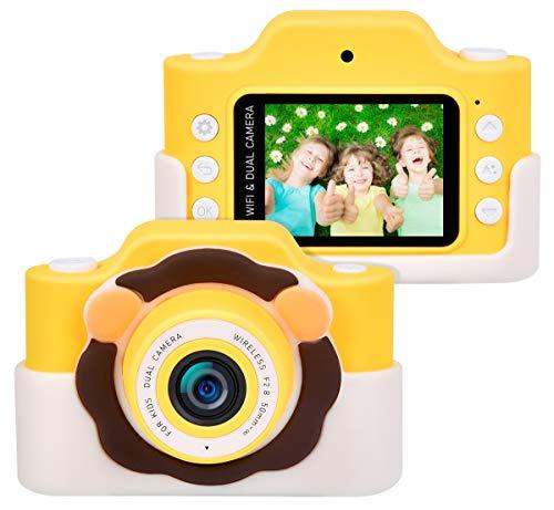 """Funkprofi Kinderkamera WiFi 2 Objektive 24 MP HD 2.0\"""" IPS-Bildschirm mit Aufklebern und Cartoon Schutzhülle Digitalkamera für Kinder als Geschenk (Gelb)"""