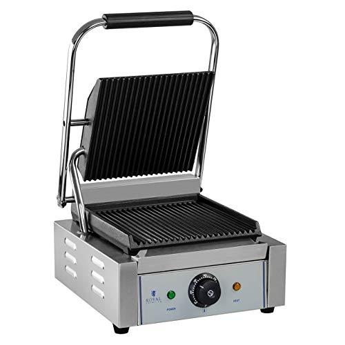 Royal Catering RCCG-1800G Tostiera Piastra Panini Elettrica Grill a Contatto Sandwich Maker (1.800 W, 23 x 22 cm, 230 V, Contenitore di Raccolta del Grasso) Acciaio Inox