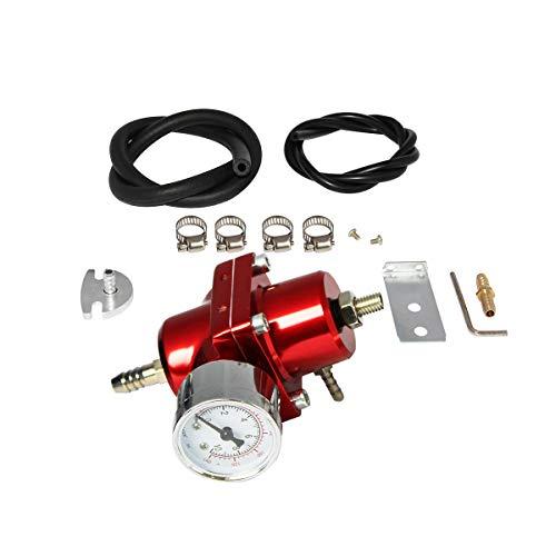 Partschoice 0-140 PSI Universal Adjustable Fuel Pressure Regulator Kit W/Gauge Hose, Red FPR