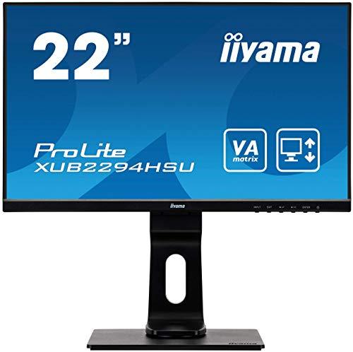 iiyama ProLite XUB2294HSU-B1 54,6cm (22 Zoll) VA LED-Monitor Full-HD (VGA, HDMI, DisplayPort, USB2.0) Ultra-Slim-Line, Höhenverstellung, Pivot, schwarz (Generalüberholt)