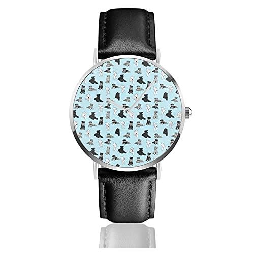 快適なPuレザーストラップ、ファッションクォーツビジネスクラシックギフト腕時計-青い曇りの背景に漫画シュナウザーと男性女性ノベルティ時計