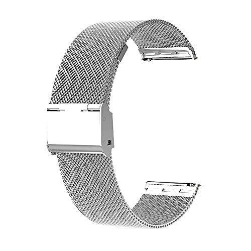 Correa de Reloj Metal,Correa de Reloj para Hombres y Mujeres para Reloj Inteligente y Reloj Tradicional 20mm, Plateado