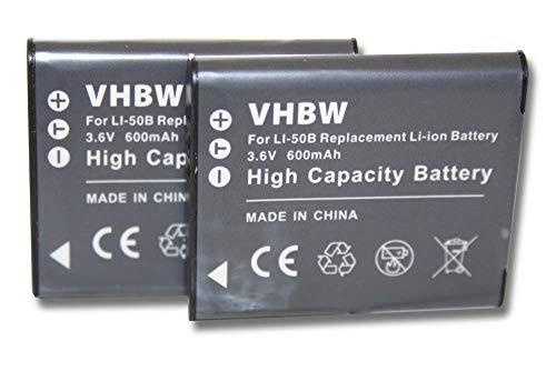 vhbw 2X Batería Recargable Compatible con Olympus Stylus/µ-Tough Serie 8010 cámara Digital,...