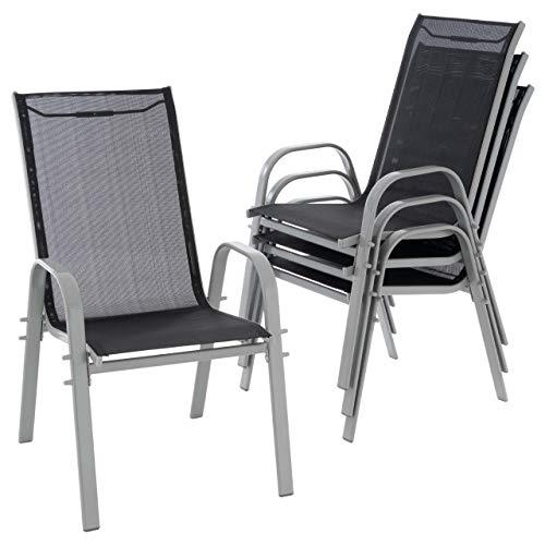 Nexos 4er Set Gartenstuhl Stapelstuhl Hochlehner Terrassenstuhl Gartenmöbel– Textilene Stahl stapelbar – Farbe: Rahmen grau/Bespannung schwarz