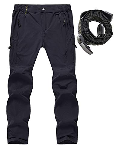 Rdruko Men's Outdoor Lightweight Waterproof Hiking Climbing Travel Cargo Pants with Belt(Navy, US XL)
