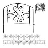 Relaxdays 16 TLG. Beetzaun Set, Beetumrandung für Garten, Dekozaun Metall, antike Verzierungen, HxB: 32 x 744 cm, schwarz