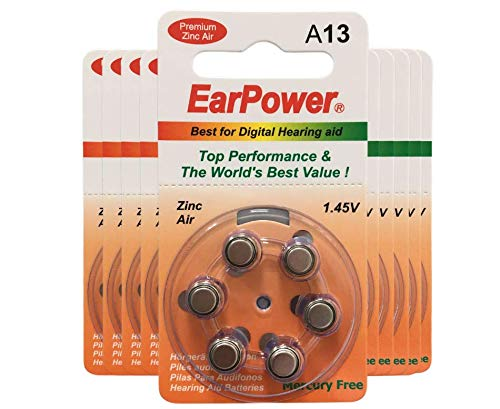 EarPower 13 - Pilas auditivas (lote de 10 pastillas de 6 pilas) | Pilas para aparatos auditivos / auxiliares auditivos | Sin Mercurio