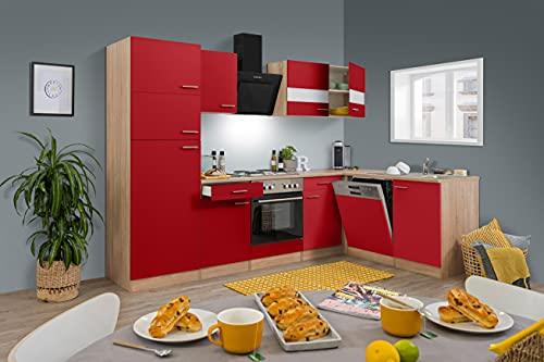 respekta Economy L-Form Winkel Küche Küchenzeile Eiche Sägerau Rot 280x172cm inkl. Designer-Dunstabzugshaube