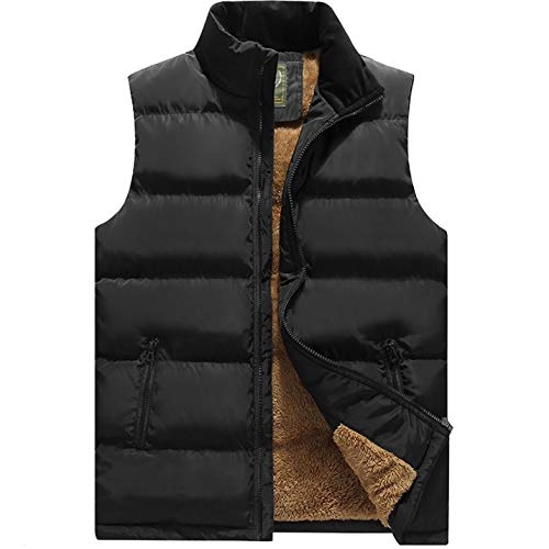 Flygo Men's Winter Warm Outdoor Padded Puffer Vest Thick Fleece Lined Sleeveless Jacket (Style 03 Black, X-large)