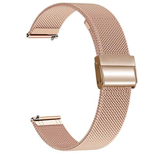WATORY Armband kompatibel mit Amazfit Bip, Mesh Gewebte Edelstahl Armband Metall Uhrenarmband Business Ersatzband für Xiaomi Huami Amazfit Bip lite, Amazfit GTS, Amazfit GTR 42mm, Roségold
