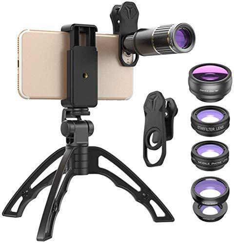 SLM-max Telescopio HD,Lente de la cámara del teléfono móvil óptico Lente telefoto 16X con trípode + Ojo de pez 5 en 1 Ancho para