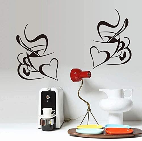 Etiquetas de la pared Pegatinas Doble Taza de café Etiqueta de la pared Etiqueta de vinilo Vinilo Restaurante Cocina Distribuidor Pegatinas de pared DIY Decoración para el hogar Mural Art Mural