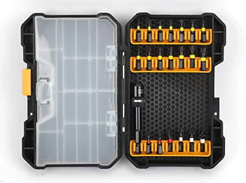 JCB - 21 Piece Impact Driver Bit Set | Compatible With Multiple Impact Drill Brands, Hardware Organizer & Durable Case, Home Tool Kit