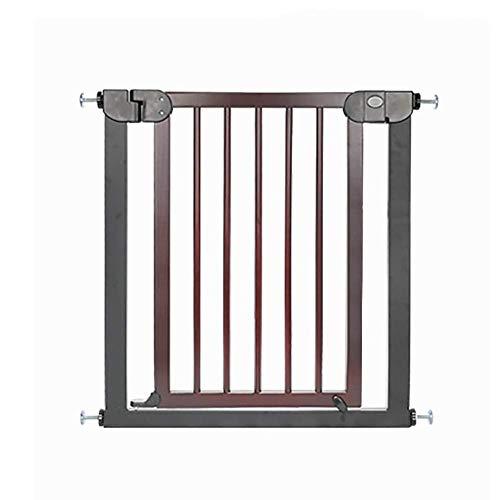 FCXBQ Puertas de Seguridad Puerta de Madera para bebés con Puerta peatonal, Cierre automático para escaleras de Pasillo, Ajuste a presión para 76-103cm de Ancho, Rojo-marrón (Color: H / 77cm,