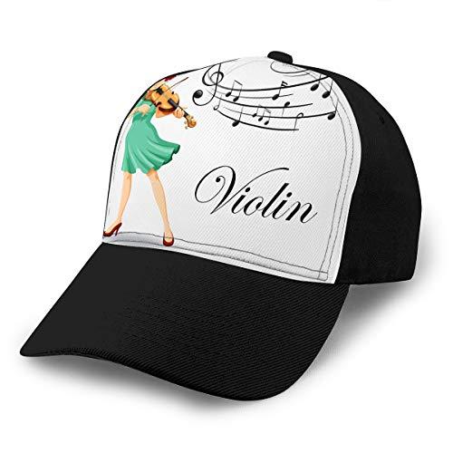 0 Cotton Baseball Cap Verstellbarer Trucker Hüte Frau spielt Geige mus