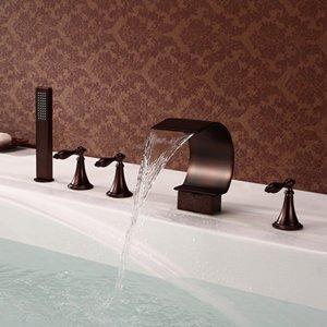 Luxurious shower Werk direkt ORB Badewanne Mixer 5 Stk Breite Wanne Filler Faucet Badezimmer Badewanne Dusche Mischbatterie in Öl eingerieben Bronze, Braun