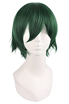 MapofBeauty Men s Short Straight Wig Cosplay Costume Wig  Pine Green