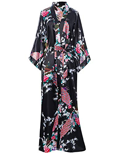 BABEYOND Women's Kimono Robe Long Robes with Peacock and Blossoms Printed Kimono Outfit (Black)