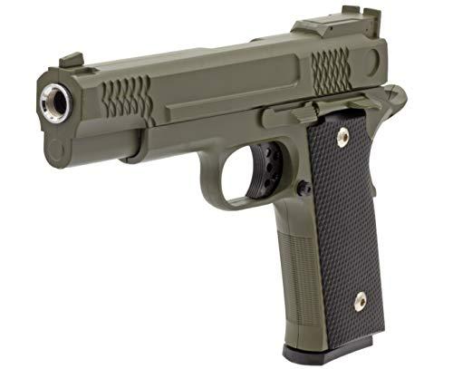Softair Gun Airsoft Pistole + Munition | Cadofe G20-Green. Profi Vollmetall | 22cm. Inkl. Magazin & unter 0,5 Joule (ab 14 Jahre)