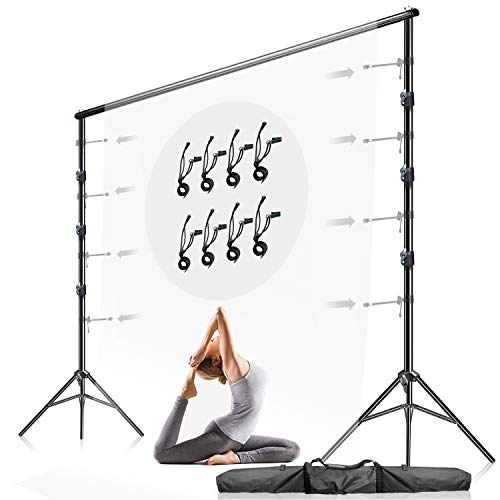 Julius Studio 10 ft. Max Wide 9.4 ft. Max Tall Adjustable Background Support Equipment, Backdrop Stands for Photography Video Studio, Backdrop Muslin with 8-Pack String Holders Carry Bag, LNA1106