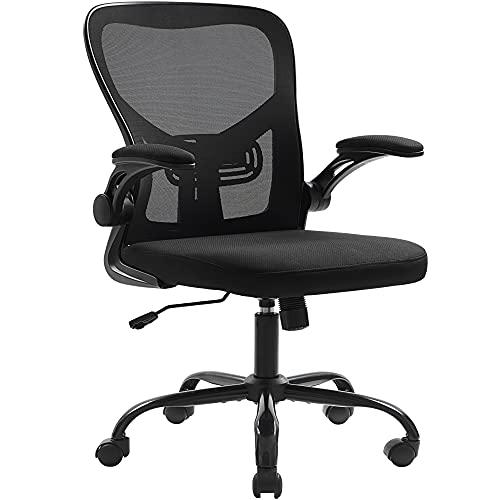Furious Silla de oficina giratoria ergonómica para ordenador con soporte lumbar ajustable, reposabrazos elevables y ruedas giratorias, silla de escritorio de malla transpirable, color negro