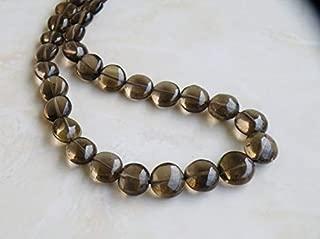 Jewel Beads Natural Beautiful jewellery Smoky Quartz Gemstone Smooth Round Coin 8 to 9.5mm 24 beads 1/2 strandCode:- JBB-33410