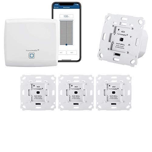 Homematic IP Rolladensteuerung für 4 Rolladen. Smart Home Set inkl. App zur Automatisierung der Rollladen. Ideal zur Nachrüstung. Alexa kompatibel. Inhalt: Zentrale, 4 Funk Rollladenaktoren, Adapter.