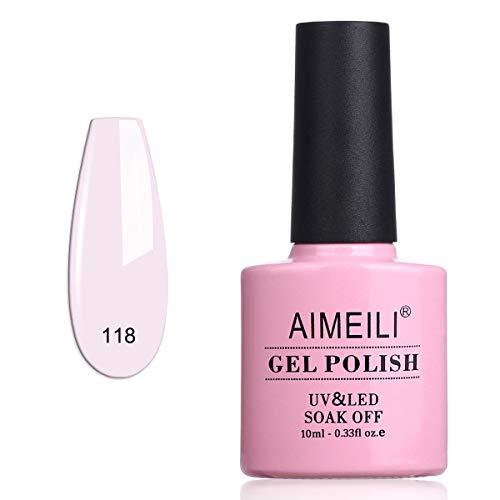 AIMEILI Smalto Semipermente per Unghie in Gel UV LED Smalti Colorati Gel per Manicure Gel Polish Soak Off - Gardenia Jasminoides Ellis (118) 10ml
