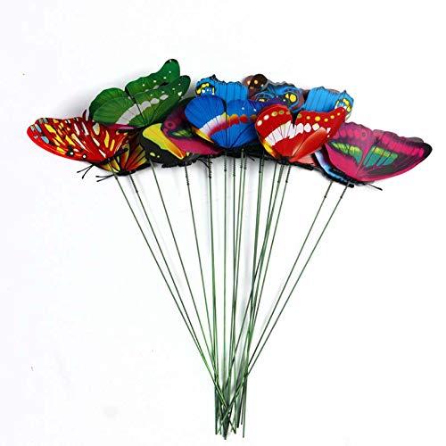 ALBEFY 15pcs 7cm Farfalle di Simulazione 3D a Due Piani, Farfalla Colorata per Decorazioni da Giardino con Aste di Inserimento per Fiori/Composizioni Floreali/Decorazioni da Giardino