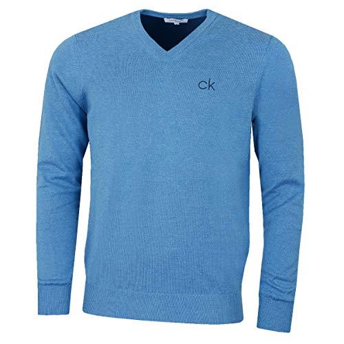 Calvin Klein Golf Hommes V-Neck Pull Tour - Bleu Marl - L
