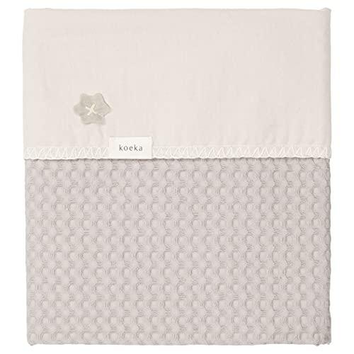 Koeka Babydecke - Kuscheldecke - Schmusedecke - Flanell-Decke - Antwerp - Waffelgeprägte Baumwollstoff - Mit Flanell Gefüttert - Waschbar - Grau - 100X150 cm