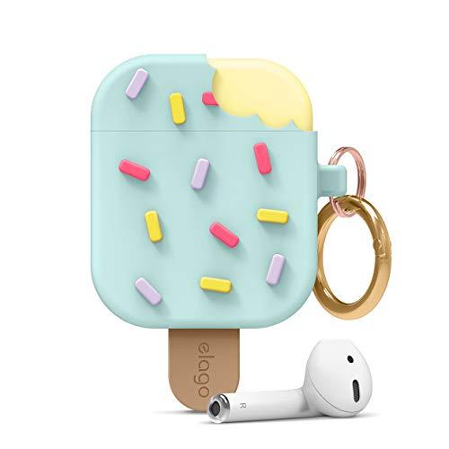 elago Ice Cream Case mit Karabiner Kompatibel mit AirPods Hülle 1 & 2, Silikonhülle im 3D EIS-Design, Süße Schutzhülle (Mint)