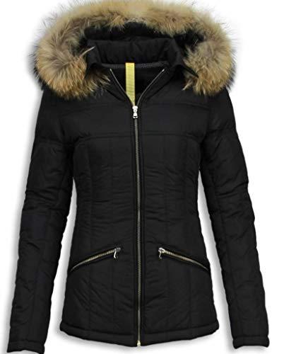 Zwarte Winterjas Dames Met Bontkraag - Zwart