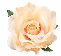 ふく福 2way バラ 花 ブローチ コサージュクリップ ヘアクリップ ヘアピン 髪飾り ヘッドドレス ウエディング パーティ ヘアアクセサリー 着物の髪飾り シャンパーニュ