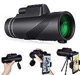 Monocular Telescopio monocular HD de alta potencia, 80 x 100, monocular HD con soporte para smartphone y trípode, monocular impermeable, para observación de aves, camping, senderismo, viajes, caza