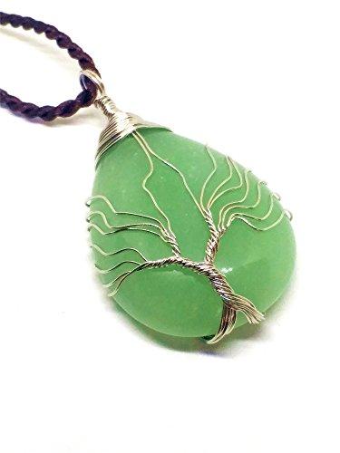 Colgante Arbol de la Vida en Jade Natural + Correa de Cuero / Protección