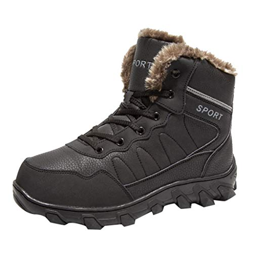 Review Dainzuy Snow Boots for Men Waterproof Lace Up Fur Lined Ankle Booties Non Slip Outdoor Warm S...