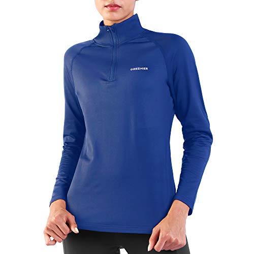 Ogeenier Damen Fleecepullover Fleece Laufshirt Langarm mit Stehkragen, Atmungsaktive Funktionsshirt Sportshirt Fitness Shirt