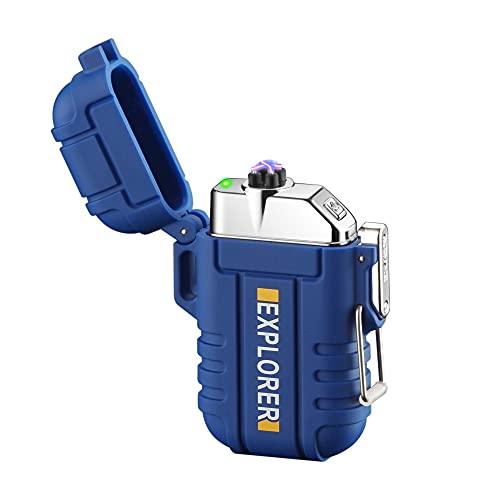 Aikchi Encendedor eléctrico impermeable, encendedor de doble arco de plasma, deportes al aire libre, camping, senderismo, a prueba de viento, recargable sin llama (azul)