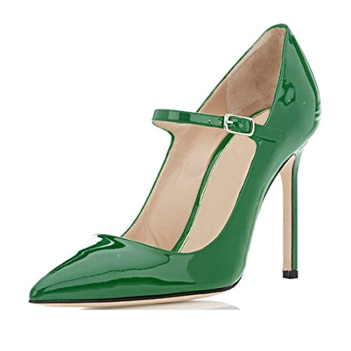 Sammitop Women's Mary Jane Pumps Ladies Sexy High Heeled Shoes Green US7.5