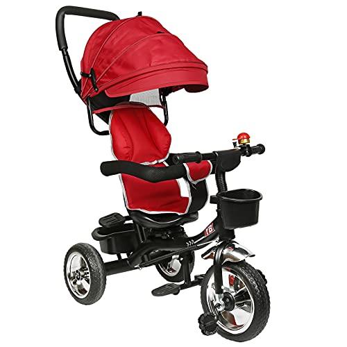 HUOLE Tricycle Enfants évolutif Canne et Pare-Soleil Pliable Amovible Sacoche et Panier Acier Tricycle Enfant Évolutif , Vélo, Accessoires, jusqu'à 5 Ans (Rouge)