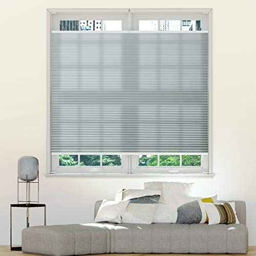 Keego Top Down Bottom up Light Filtering Shades, Cellular Shades Custom Cut to Size Window Blinds, Grey, 34 1/2