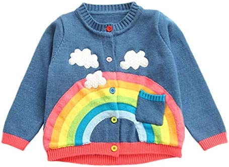 KONFA Teen Toddler Baby Boys Girls Winter Clothes Rainbow Clouds Knitted Cardigan Sweater Warm product image