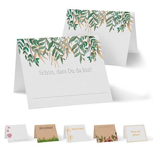 Partycards 50 Tischkarten/Platzkarten DIN A7 für Hochzeit, Geburtstag, Kommunion, Taufe (Efeu Blätter)