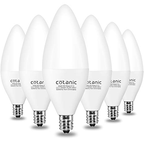 E12 LED Candelabra Bulb,Cotanic C37 LED Fan Light Bulbs,5w,60Watts Equivalent Type B Bulb,5000K Daylight for Chandelier Lamp,500lm,Small Candelabra Base,Vintage Candle B11 Shape,Non-dimmable,6 Pack