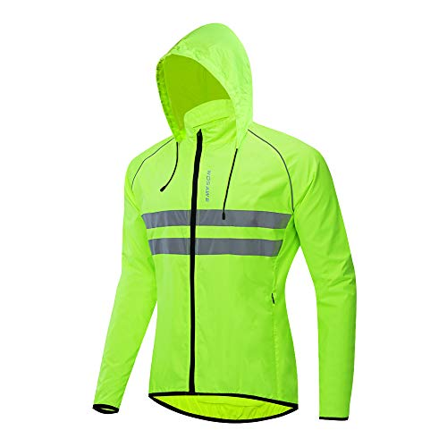 WOSAWE Packable Cycling Jacket Hooded Running Coat Lightweight Biking Windbreaker, Green with Hood X-Large