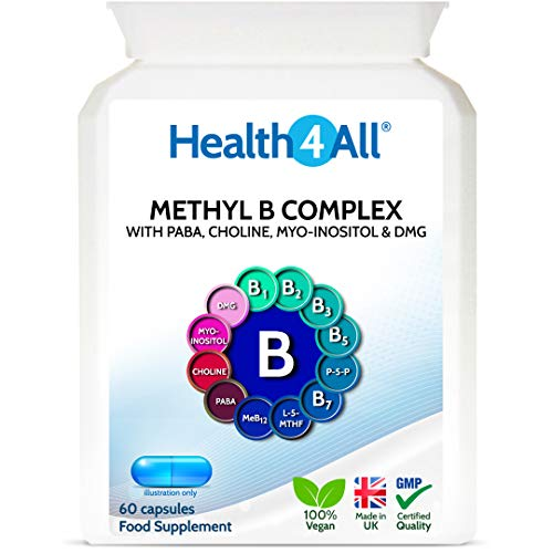 Methyl B Complex 60 Capsules (V) with Methylcobalamin, Methyl Folate, P5P, Choline, Myo-Inositol, DMG and PABA for Stress Support, Energy and methylation. Made in UK by Health4All