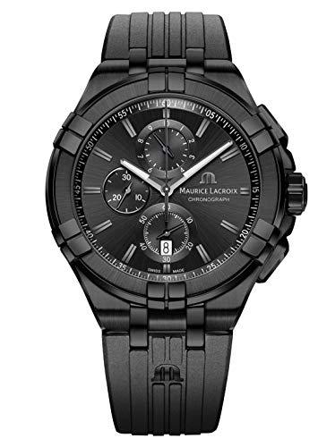 Maurice Lacroix Herren analog Schweizer Quarzwerk Uhr mit Gummi Armband AI1018-PVB01-333-1